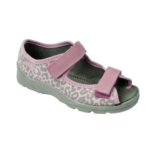 BEFADO Sandałki DZIECIĘCE Dziewczęce - różowe, bawełniane, na rzepy, kolor szary