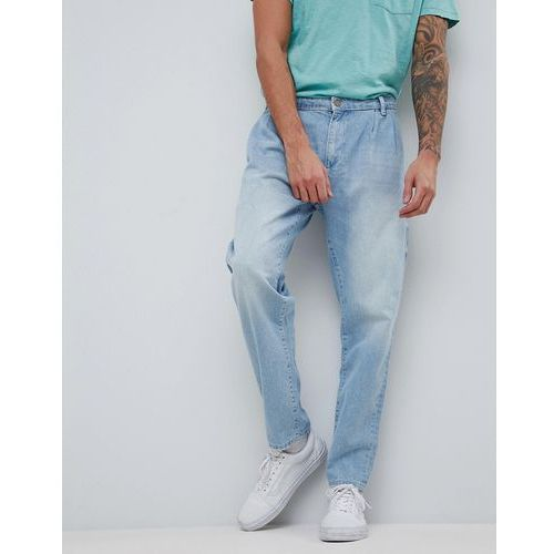 ASOS Double Pleat Jeans In Light Wash Blue - Blue