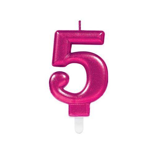 Świeczka cyferka pięć 5 różowa - 1 szt. marki Amscan