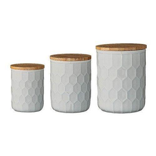Bloomingville Ceramiczne pojemniki kuchenne z pokrywką, 3 szt, szare -  (5711173086931)