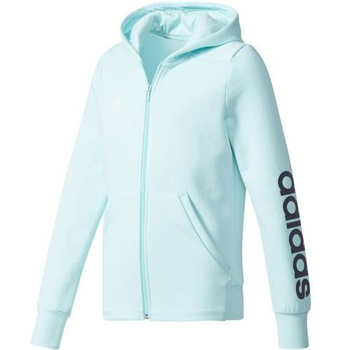 Adidas dziecięca bluza z kapturem YG Linear Full Zip Hoodie Energy Aqua/Collegiate Navy/White 140