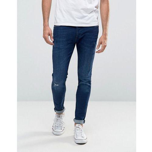 River Island Skinny Fit Jeans With Knee Rips In Midwash Blue - Blue, kup u jednego z partnerów