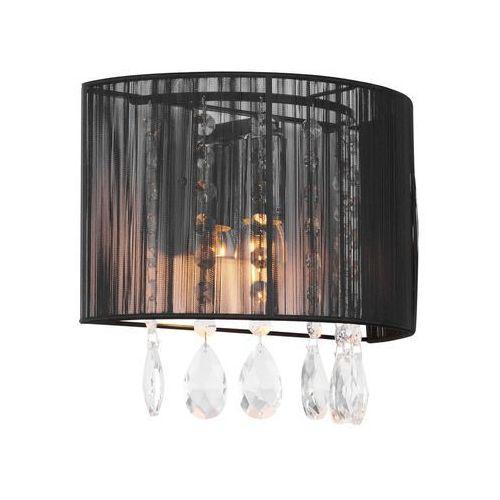 Dekoracyjny kinkiet LAMPA ścienna ESSENCE A9262/1 Italux abażurowa OPRAWA glamour kryształki crystal mgła organza czarna, A9262/1 BK
