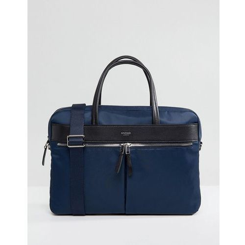 Knomo Mayfair Hanover Briefcase with Laptop Compartment with RFID Protection Lined Pockets - Navy, kolor szary