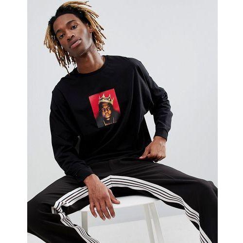 ASOS DESIGN Biggie oversized long sleeve t-shirt with B.I.G. print - Black, w 4 rozmiarach