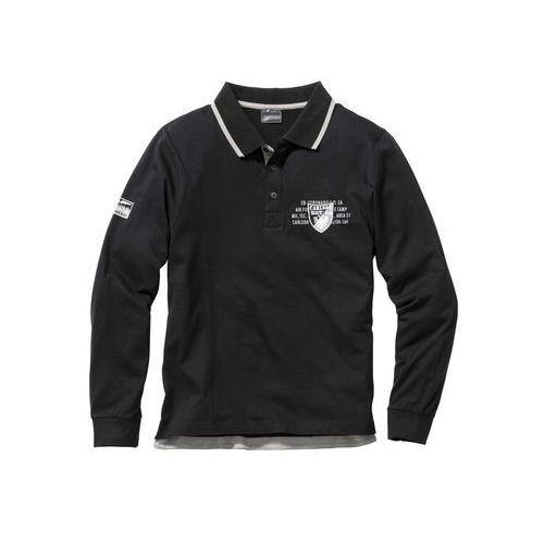 Shirt polo z długim rękawem Regular Fit bonprix czarny