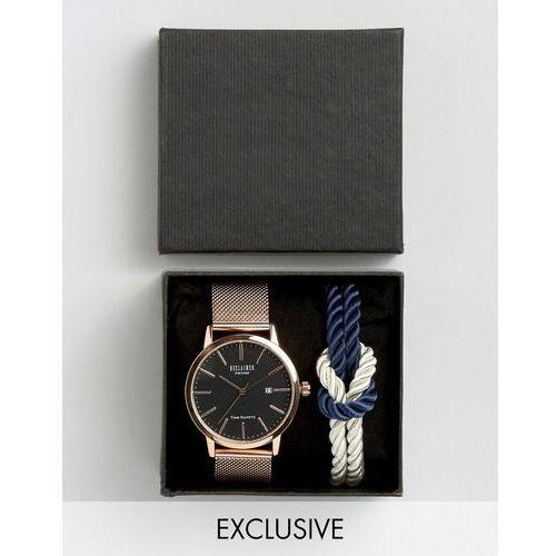Reclaimed Vintage Inspired Mesh Strap Watch And Navy Knot Bracelet Gift Set - Black