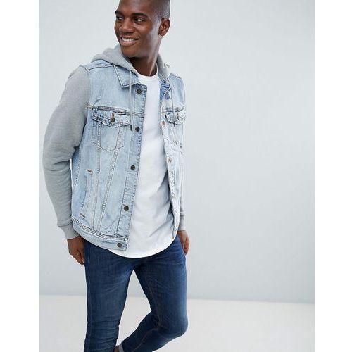 denim jacket sweat hood & sleeves in light wash/grey - blue, Hollister