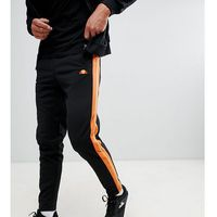 Ellesse straight leg joggers with side stripe and piping in black - black