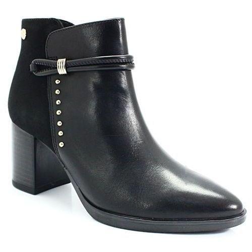9-25308-21 czarne - skórzane botki, Caprice