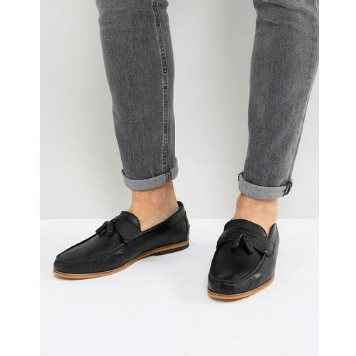 leather loafers with tassels in black - black, River island