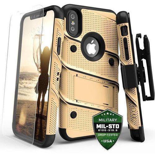 Zizo bolt cover etui pancerne iphone x (gold/black) + szkło hartowane na ekran