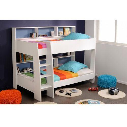 Łóżko piętrowe LENNY - 2 × 90 × 200 cm - Półki - Dwustronne plecy niebieskie lub różowe