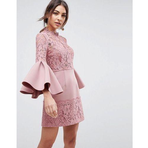 lace fluted sleeve scuba skater mini dress - pink, Asos