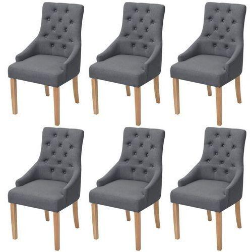 Dębowe krzesła do jadalni, tapicerowane tkaniną, ciemnoszare, 6 szt.