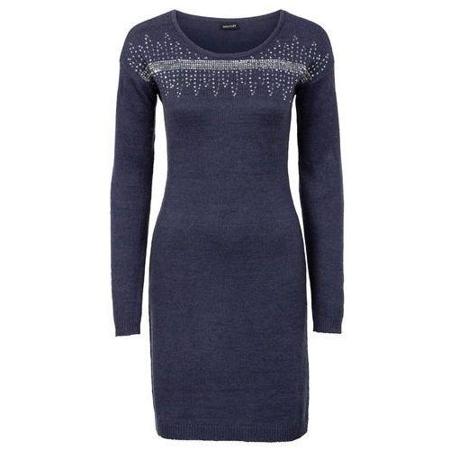 Sukienka dzianinowa z aplikacją z cekinów bonprix ciemnoniebiesko-srebrny, kolor niebieski