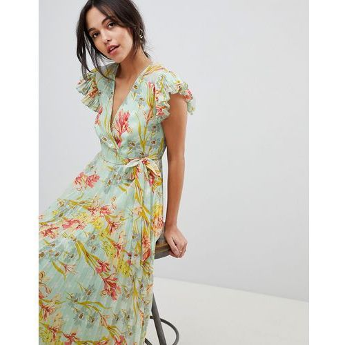 ASOS DESIGN vintage floral pleated maxi dress with flutter sleeve - Multi