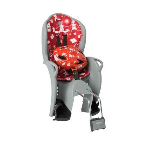 Hamax Fotelik kiss + kask czerwony-szary / montaż: tył (7029775510586)