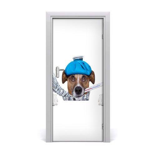 Naklejka samoprzylepna na drzwi ścianę Chory pies