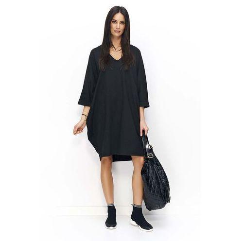 3719df3cc2 Makadamia Czarna sukienka bombka z rękawem 3 4