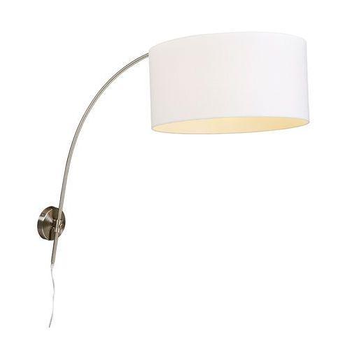 Qazqa Nowoczesna lampa ścienna ze stali z białym abażurem 50/50/25 z regulacją