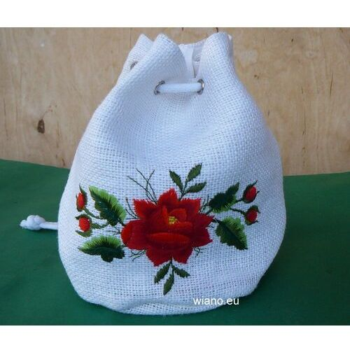 Torebka haftowana - łowicka róża czerwona