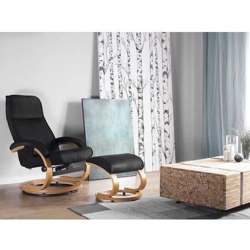 Krzesło biurowe czarne z podnóżkiem funkcja masażu HERO (4260586356274)