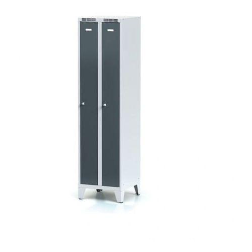 Alfa 3 Metalowa szafka ubraniowa, wąska, na nogach, antracytowe drzwi, zamek cylindryczny