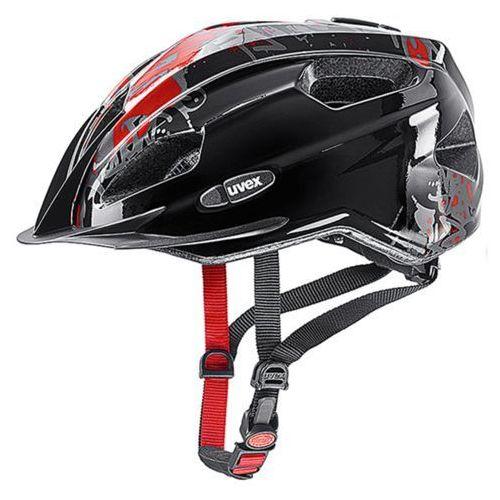 Kask UVEX Quatro Junior czarny-czerwony / Rozmiar: Unisize (4043197296005)