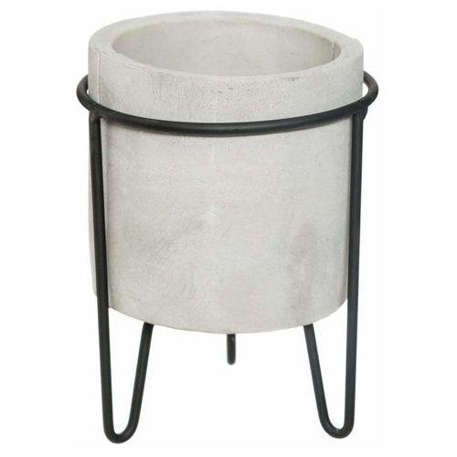 Atmosphera Doniczka na stojaku, okrągła doniczka z cementu, struktura betonu, Ø 13,5 cm