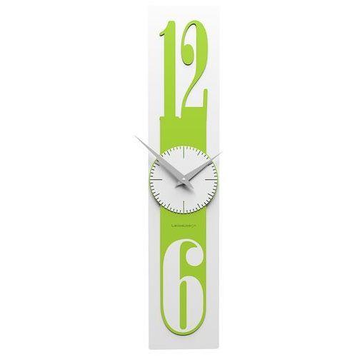 Zegar ścienny cienki 12 x 58 cm thin biały / zielony (10-026-76) marki Calleadesign