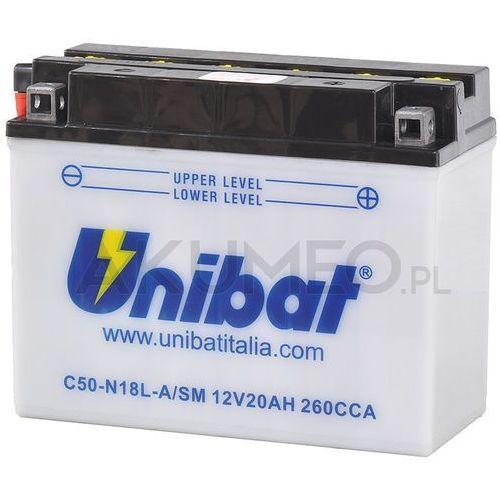 Akumulator c50-n18l-a/sm 12v 20ah 260a prawy+ ol marki Unibat