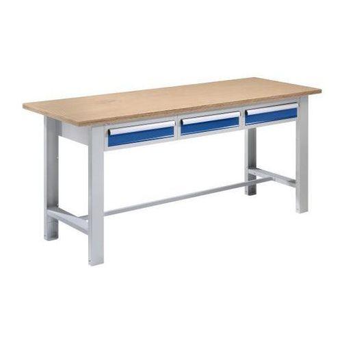 Stół warsztatowy, szer. blatu 1850 mm, 3 szuflady, płyta z multipleksu. Solidne