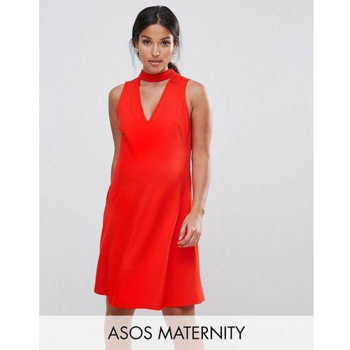 ASOS Maternity Skater Dress with Asymmetric Full Skirt Dress with V Neck - Red