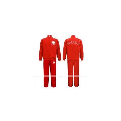 Bs sport Sportowy dres z bawełny polska - czerwona bluza sw - kibic polski