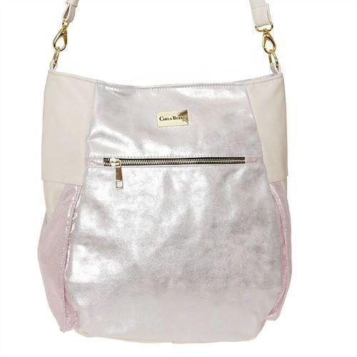 Srebrno-różowa torebka worek na ramię - różowy ||srebrny ||kremowy, kolor różowy