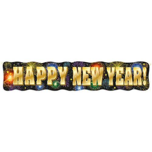 Baner fajerwerki happy new year - 137 cm - 1 szt. marki Unique