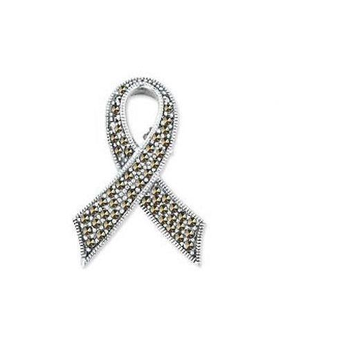 Srebrna broszka RDM5179 - Markazyty, kolor szary
