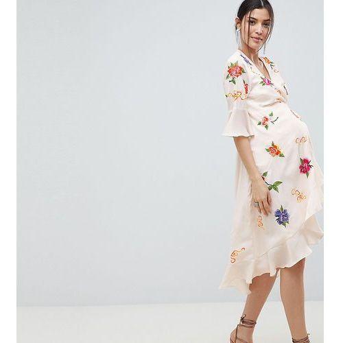 Asos design maternity embroidered wrap midi dress - multi, Asos maternity