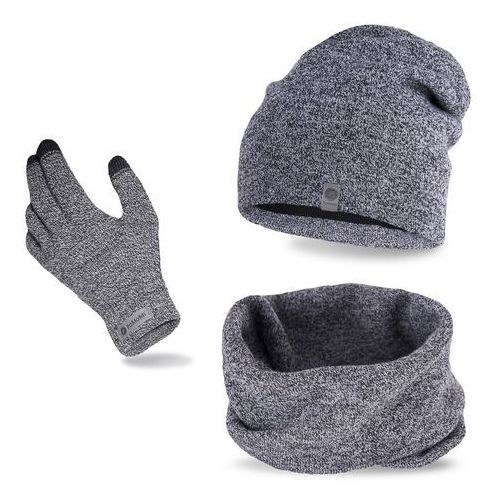 Komplet męski - czapka, komin i rękawiczki - jasnoszara mulina marki Pamami