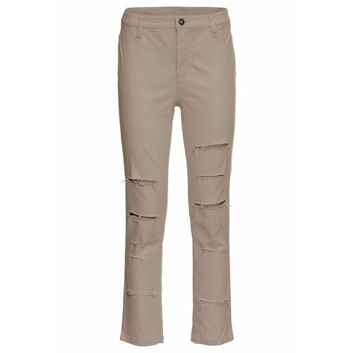 Spodnie dresowe bonprix morelowo-niebieski topaz z nadrukiem, kolor pomarańczowy