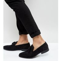ASOS DESIGN Wide Fit tassel loafers in black faux suede - Black