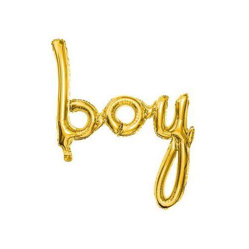 Party deco Balon foliowy złoty napis boy - 63,5 x 74 cm