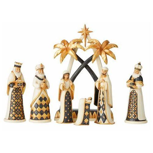 Jim shore Złota szopka święta rodzina i trzech króli let us adore him (black and gold) 6004196 figurka ozdoba świąteczna