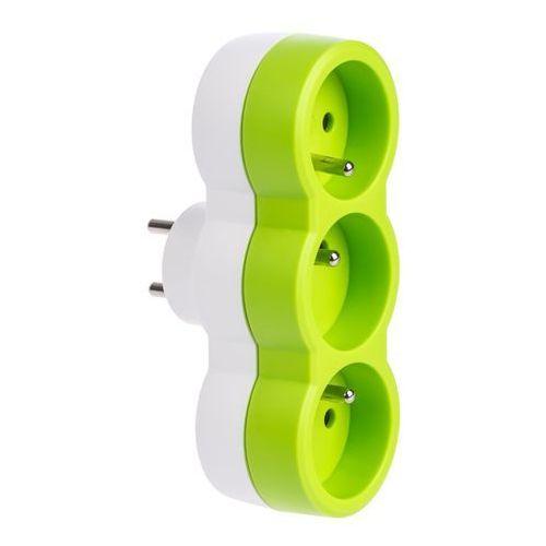 Rozgałęźnik Legrand 3 x 2 P+Z poziomy biało-zielony (3414970889324)