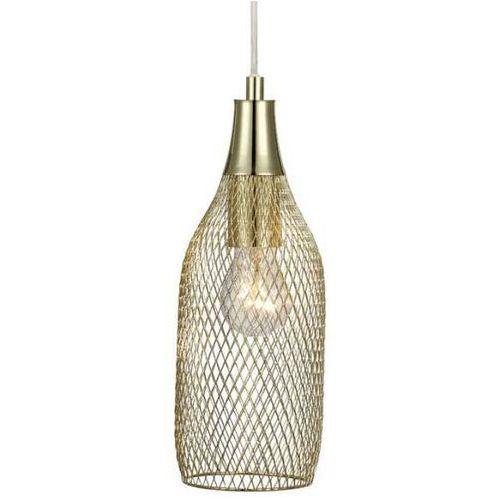 Markslojd Druciana lampa wisząca grid 105973 metalowa oprawa butelka z wtyczką mosiądz