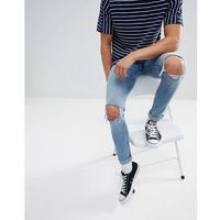 Cheap monday tight skinny jeans with blown out knees - blue
