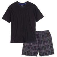 Piżama z krótkimi spodenkami bonprix czarny w kratę, 1 rozmiar