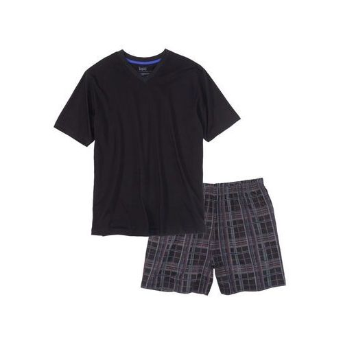 Piżama z krótkimi spodenkami bonprix czarny w kratę, bawełna