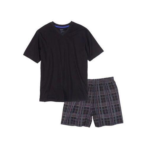 Piżama z krótkimi spodenkami czarny w kratę marki Bonprix